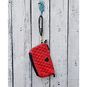 Betsey Johnson Red Black Quilted Heart Wristlet